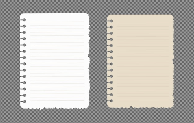 Ensemble de feuilles de papier a4, a5 avec des ombres, page de papier réaliste