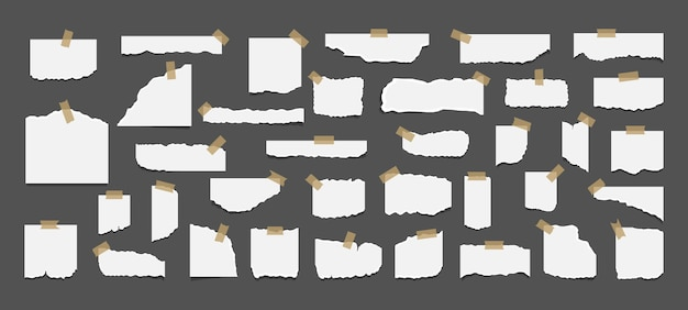 Ensemble de feuilles de papier blanc déchiré déchiré avec autocollant.