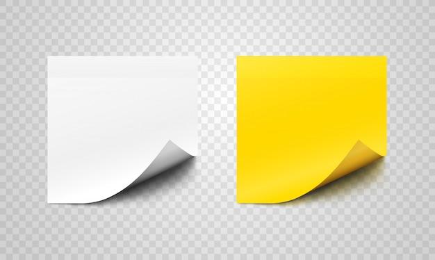 Ensemble de feuilles de papier collantes avec des boucles sur les coins
