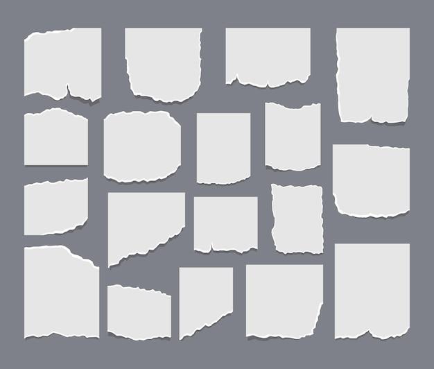 Ensemble de feuilles de papier déchiré déchiré avec autocollant