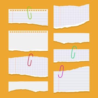 Ensemble de feuilles de papier déchirées déchirées de papier de cahier de couleur blanche