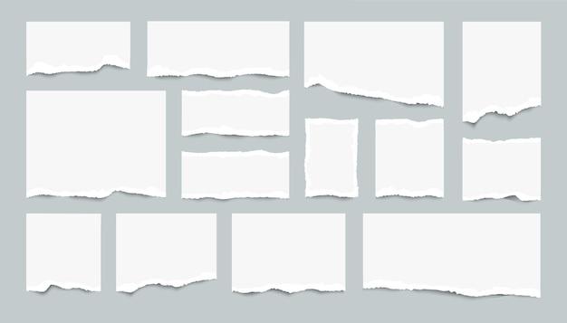 Ensemble de feuilles de papier déchirées. morceaux réalistes de pages blanches déchirées.