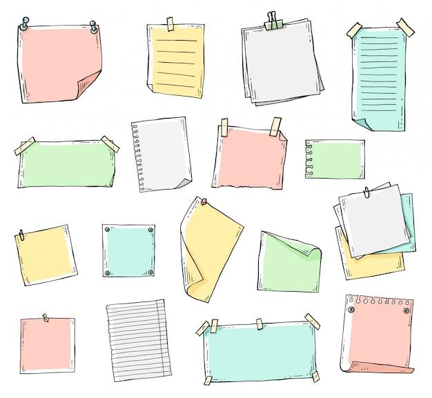 Ensemble de feuilles de papier dessinées à la main colorées dans le style de doodle de ligne de croquis