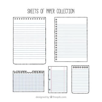 Un ensemble de feuilles de papier avec des dessins différents