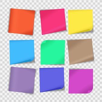 Ensemble de feuilles de papier à notes de différentes couleurs