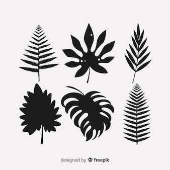 Ensemble de feuilles tropicales avec style silhouette