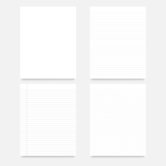 Ensemble de feuilles vierges de papier ligné carré réaliste isolé.