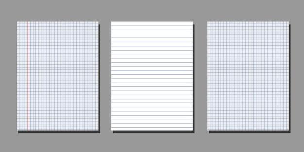 Ensemble de feuilles vierges réalistes de papier carré et ligné