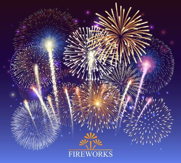 Ensemble de feux d'artifice, bannière festive, invitation à une illustration de vacances