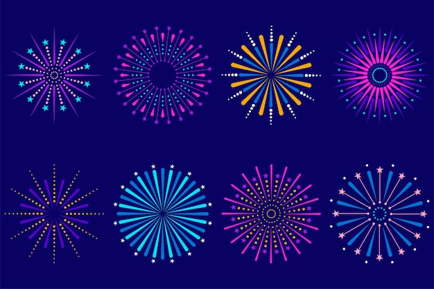 Ensemble de feux d'artifice festifs de célébration colorée