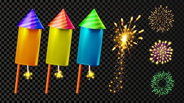 Ensemble de feux d'artifice et de feux d'artifice festifs