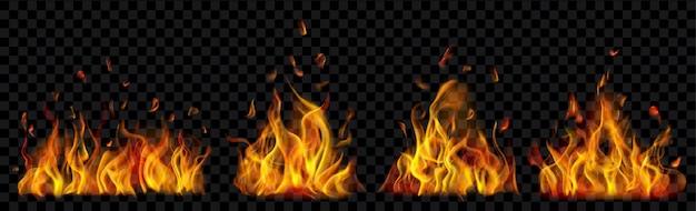 Ensemble de feux de camp brûlants translucides de flammes et d'étincelles sur fond transparent. à utiliser sur des illustrations sombres. transparence uniquement en format vectoriel