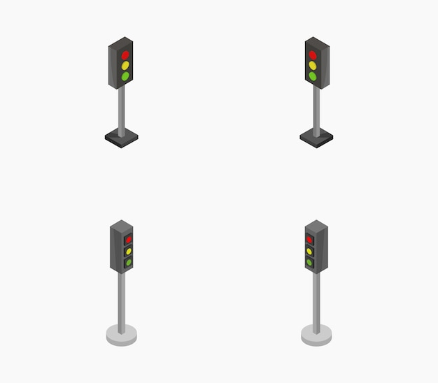 Ensemble de feux de circulation isométriques