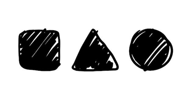 Ensemble de figures ombrées vectorielles dessinées à la main