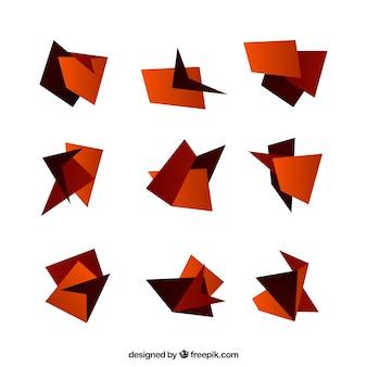 Ensemble de figures d'origami dans des tons bruns