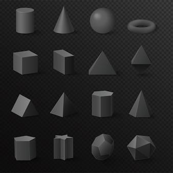 Ensemble de figures primitives de formes de diamant noir volumétrique de base 3d réaliste