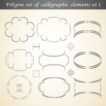Un Ensemble En Filigrane D'éléments Calligraphiques Embellit Le Design Vintage. Vecteur Premium