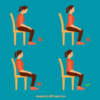 Ensemble de fille assise correctement et incorrectement