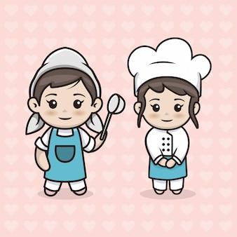 Ensemble de fille de chef kawaii
