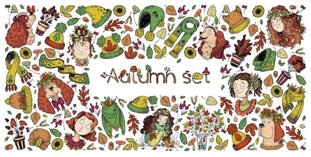 Ensemble de filles d'automne