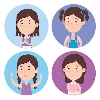 Ensemble de filles en cercles