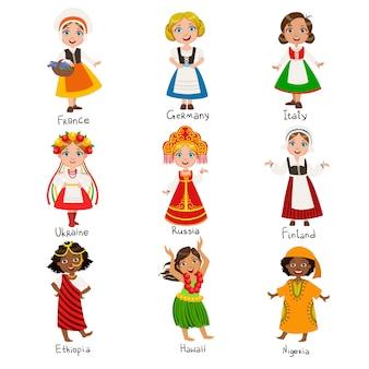 Ensemble de filles en costumes nationaux