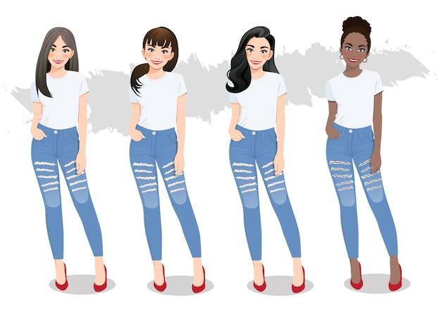 Ensemble de filles diverses avec des coiffures différentes en t-shirts blancs et jeans bleus