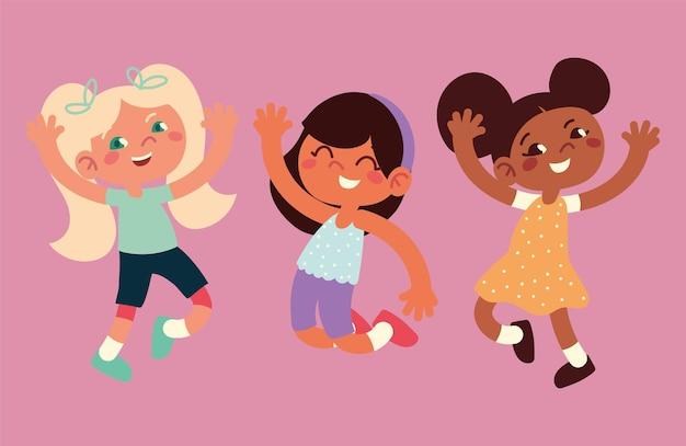 Ensemble de filles heureuses