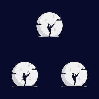 Ensemble de filles qui se battent sur la lune
