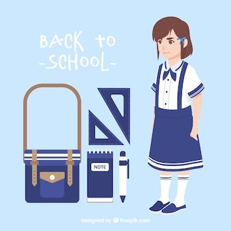 Ensemble de filles avec uniforme et éléments scolaires