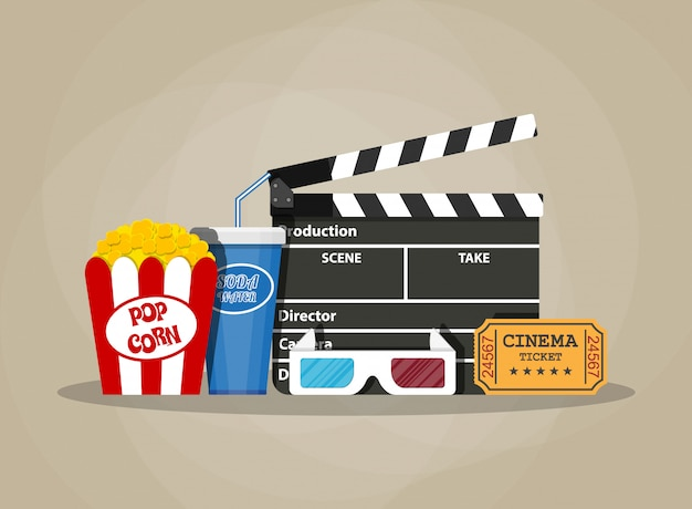 Ensemble de film rétro. articles de cinéma