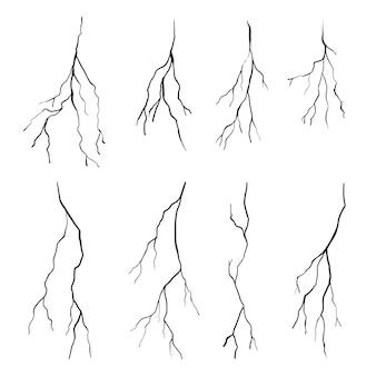 Ensemble de fissures dessinées à la main isolés sur fond blanc. illustration vectorielle