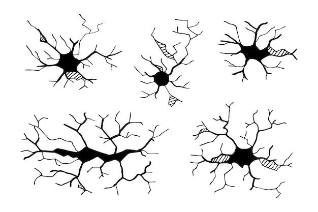 Ensemble de fissures dessinées à la main isolés sur fond blanc. illustration vectorielle.