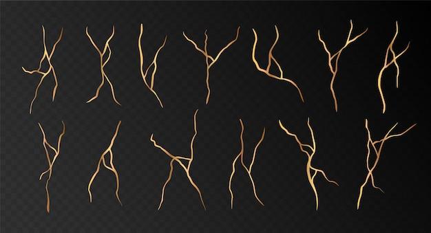 Ensemble de fissures kintsugi dorées isolées sur fond noir. collection d'éléments décoratifs dessinés à la main abstraite. illustration vectorielle.