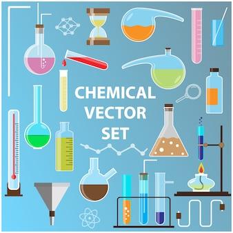 Ensemble de flacons de laboratoire avec des objets vectoriels de chimie