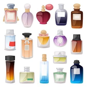 Ensemble de flacons de parfum.