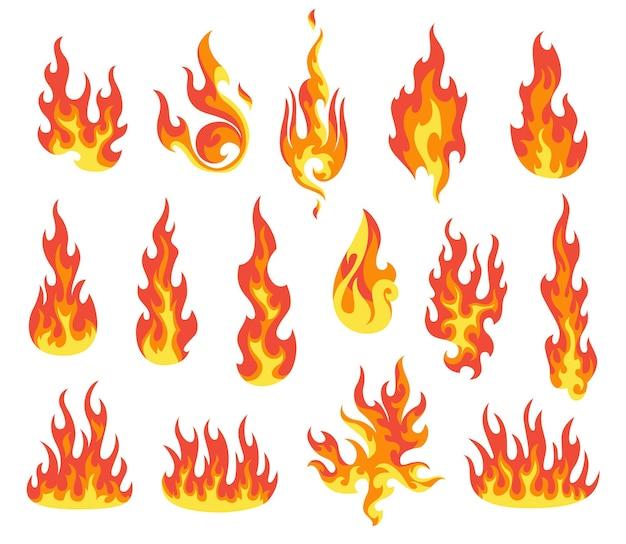 Ensemble de flamme de feu rouge et orange. flammes de différentes formes.