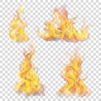 Ensemble de flamme de feu sur transparent