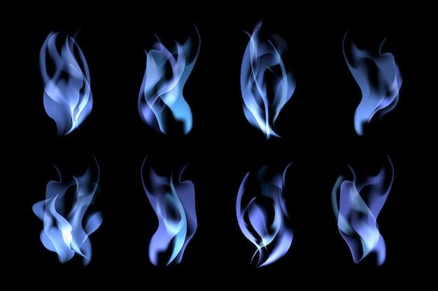 Ensemble de flammes bleues