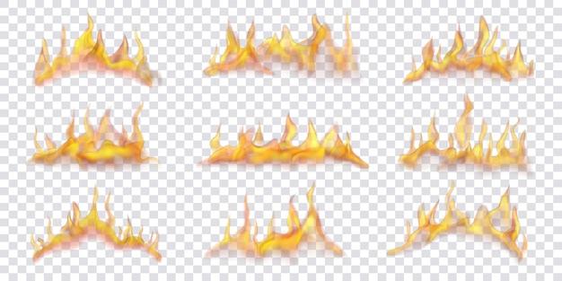 Ensemble de flammes de feu horizontales translucides sur fond transparent