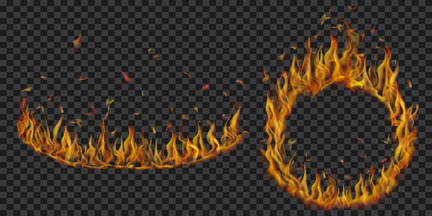 Ensemble de flammes de feu translucides en forme d'arc et de cercle sur fond transparent. à utiliser sur des illustrations sombres. transparence uniquement en format vectoriel