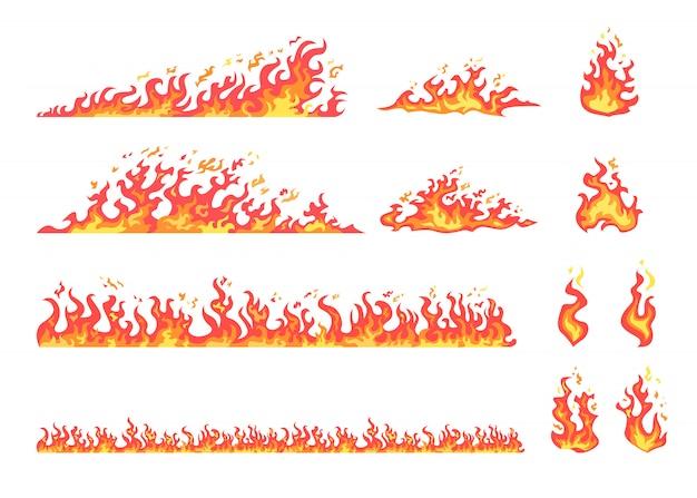 Ensemble de flammes rouges et jaunes