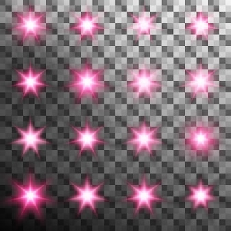 Ensemble de flash lumineux éclaté avec flare. fond transparent uniquement dans