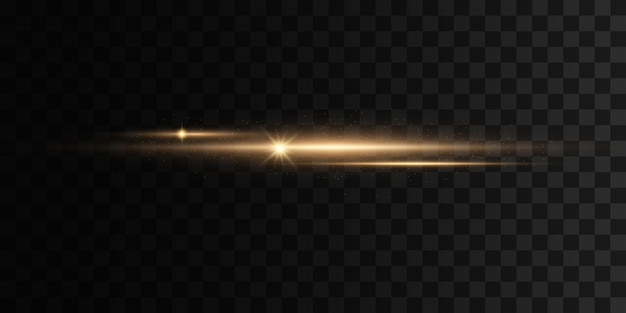 Ensemble de flashs lights sparkles sur fond transparent éblouissements dorés brillants lumières dorées abstraites isolées pack de fusées éclairantes horizontales jaunes faisceaux laser lignes de rayons lumineux horizontaux