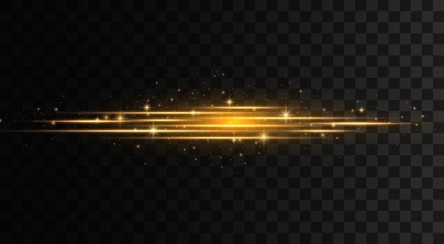 Ensemble de flashs lights sparkles sur fond transparent éblouissements d'or brillant lumières dorées abstraites isolées pack de fusées éclairantes horizontales jaunes faisceaux laser lignes de rayons lumineux horizontaux vector