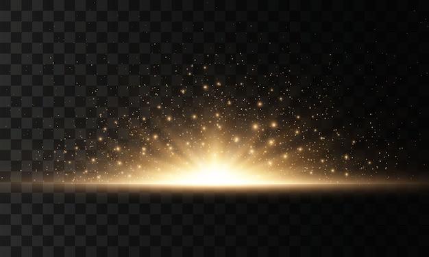 Ensemble de flashs, lumières et étincelles sur fond transparent. des éclats et des reflets dorés brillants. résumé des lumières dorées isolées. rayons lumineux brillants.