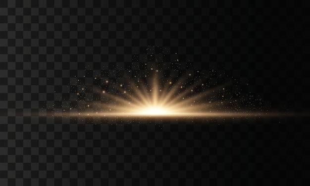 Ensemble de flashs, lumières et étincelles sur un fond transparent. l'or brillant clignote et éblouit. lumières dorées abstraites isolées rayons lumineux de lumière. des lignes éclatantes. illustration