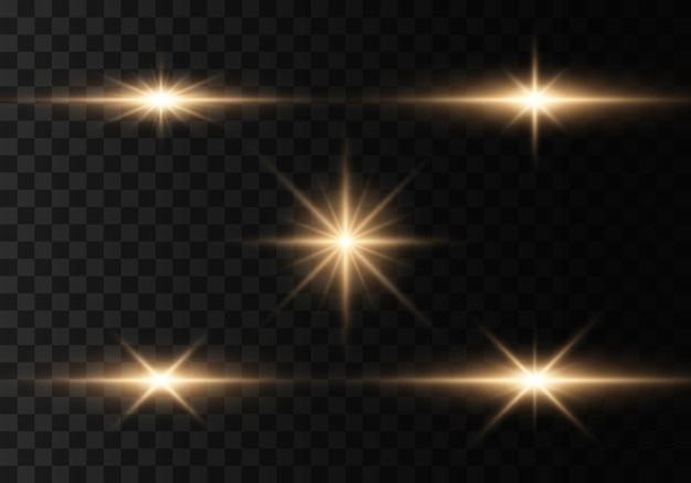 Ensemble de flashs, lumières et étincelles
