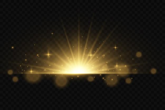 Ensemble de flashs, de lumières et d'étincelles