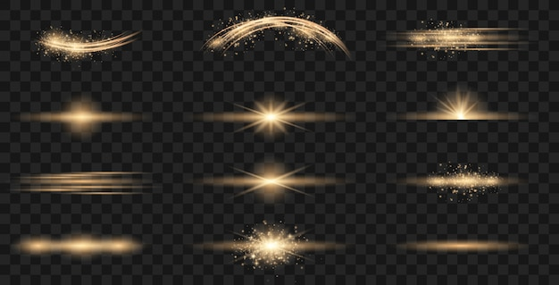 Ensemble de flashs, lumières et étincelles.